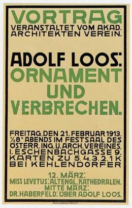 adolf loos ornament and crime essay Breaded escalope models two-person bar on iconic adolf loos  in 1908 by the  architect who went on to write the essay ornament and crime.